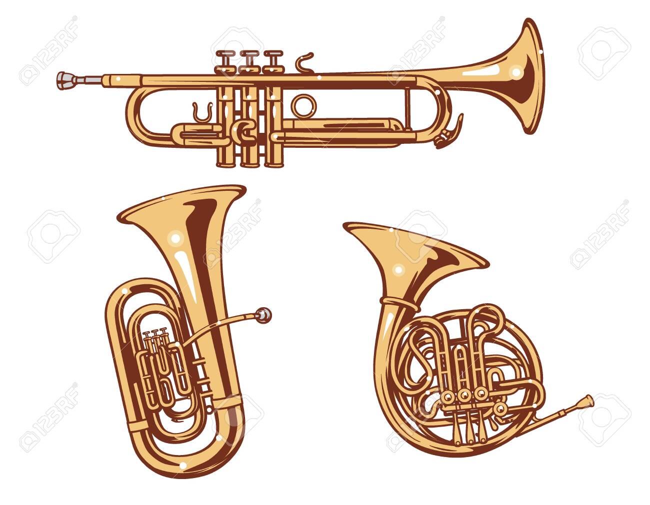 Trumpet, Horn and Tuba. Brass set of vector illustration. - 150308659