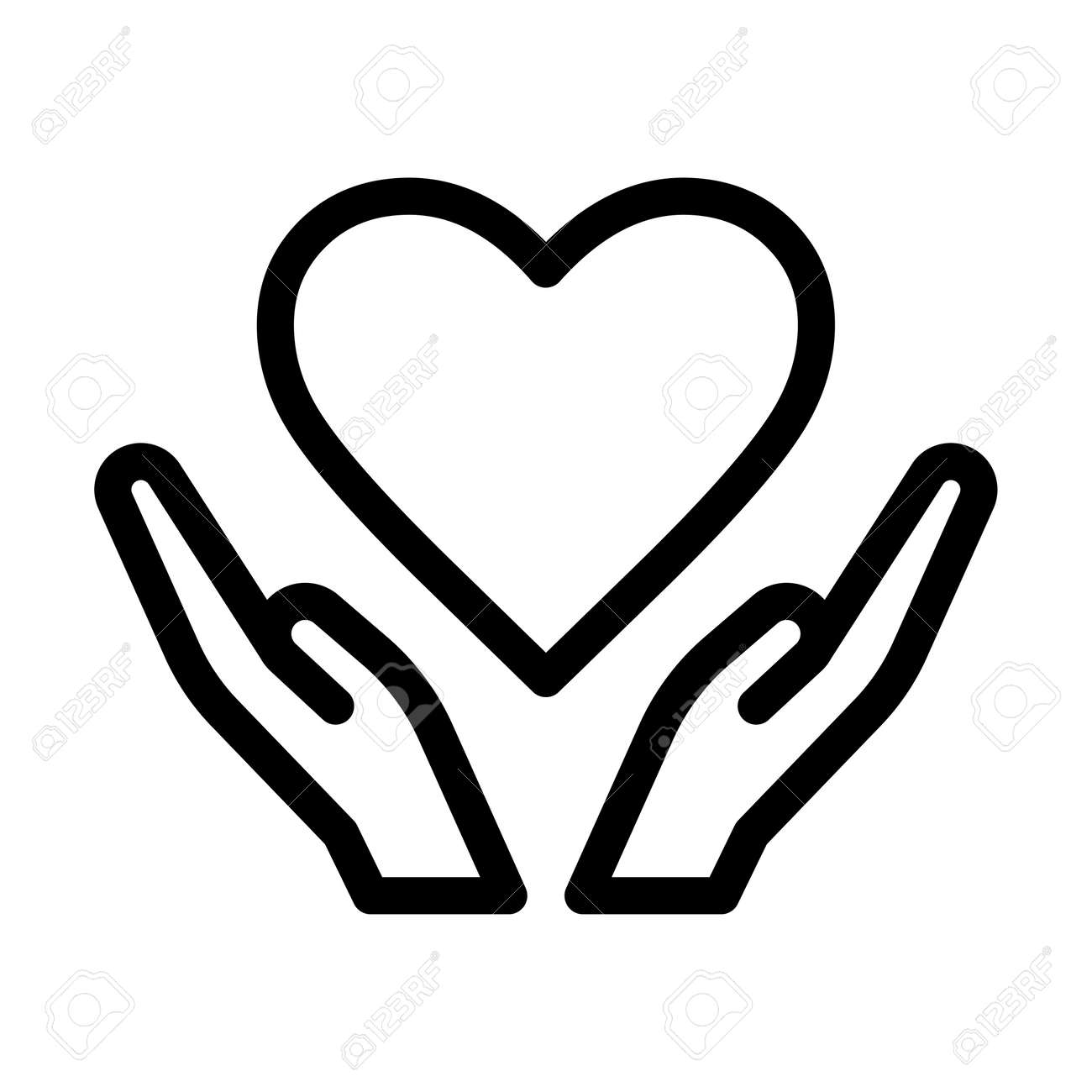 Hands and Heart Icon Vector Art - 169783145