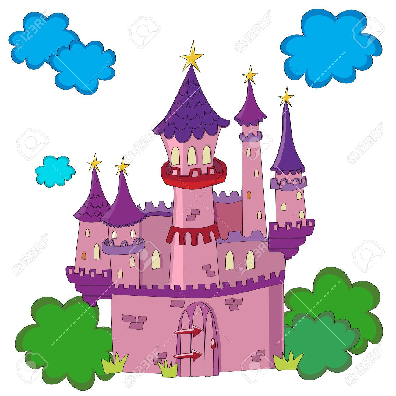Fairy tale castle in a cute style. Stock Vector - 3426589