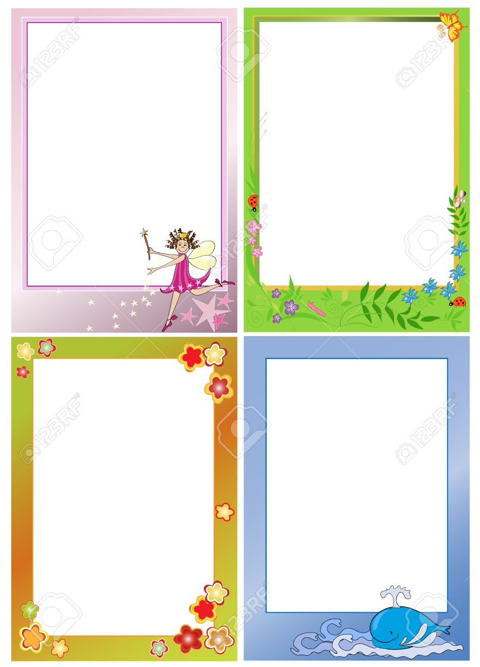 Four Photo Frames For Kids. Portrait View. Royalty Free Cliparts ...