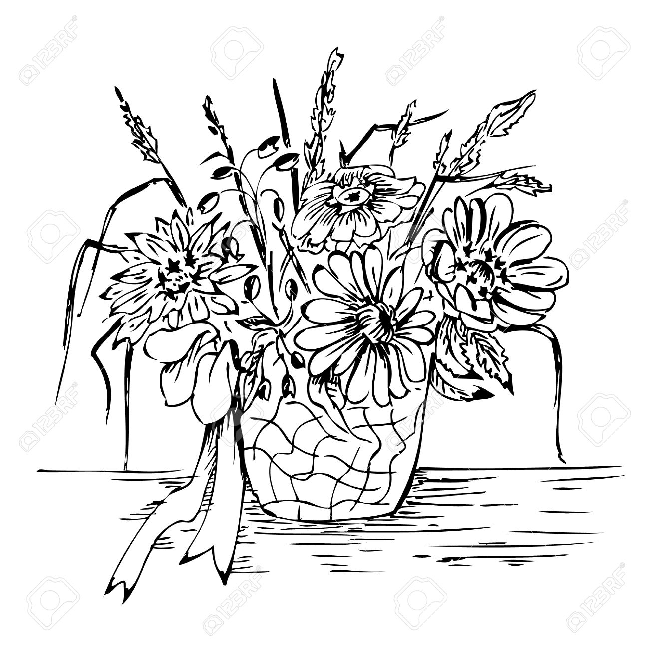 Bouquet In Vase - Vector Hand Drawing Royalty Free Cliparts, Vectors ...