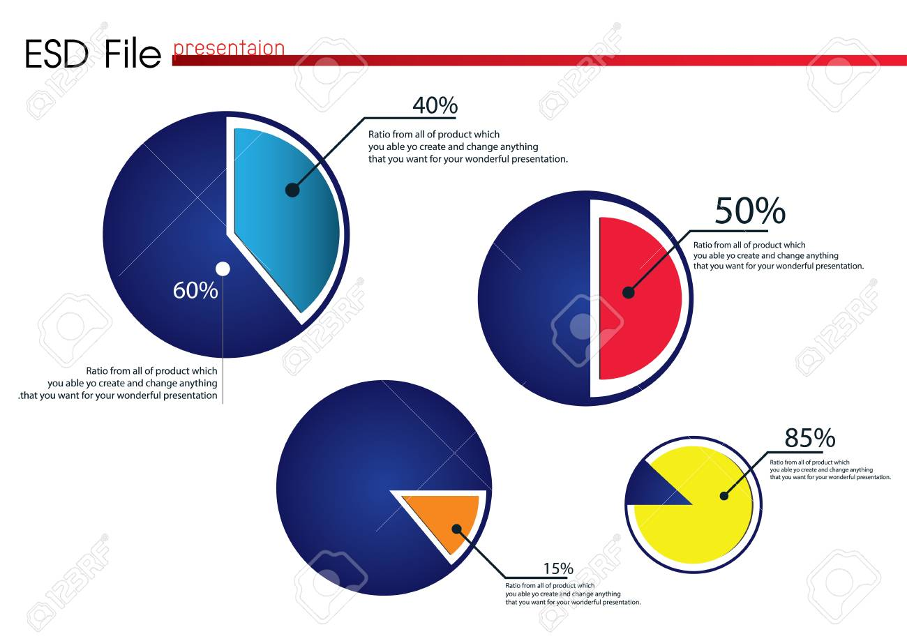 Smart colored pie chart for presentation Stock Vector - 19883610