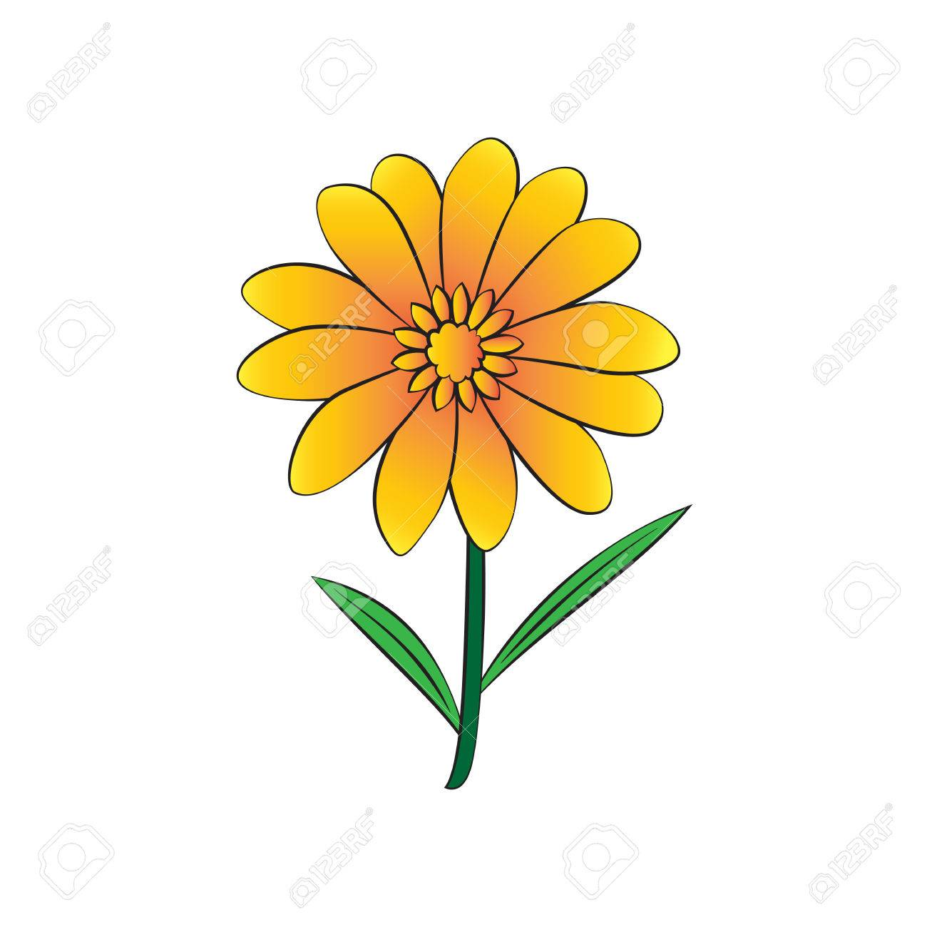vector cartoon flower on white background royalty free cliparts rh 123rf com cartoon flowers images cartoon flowers to draw
