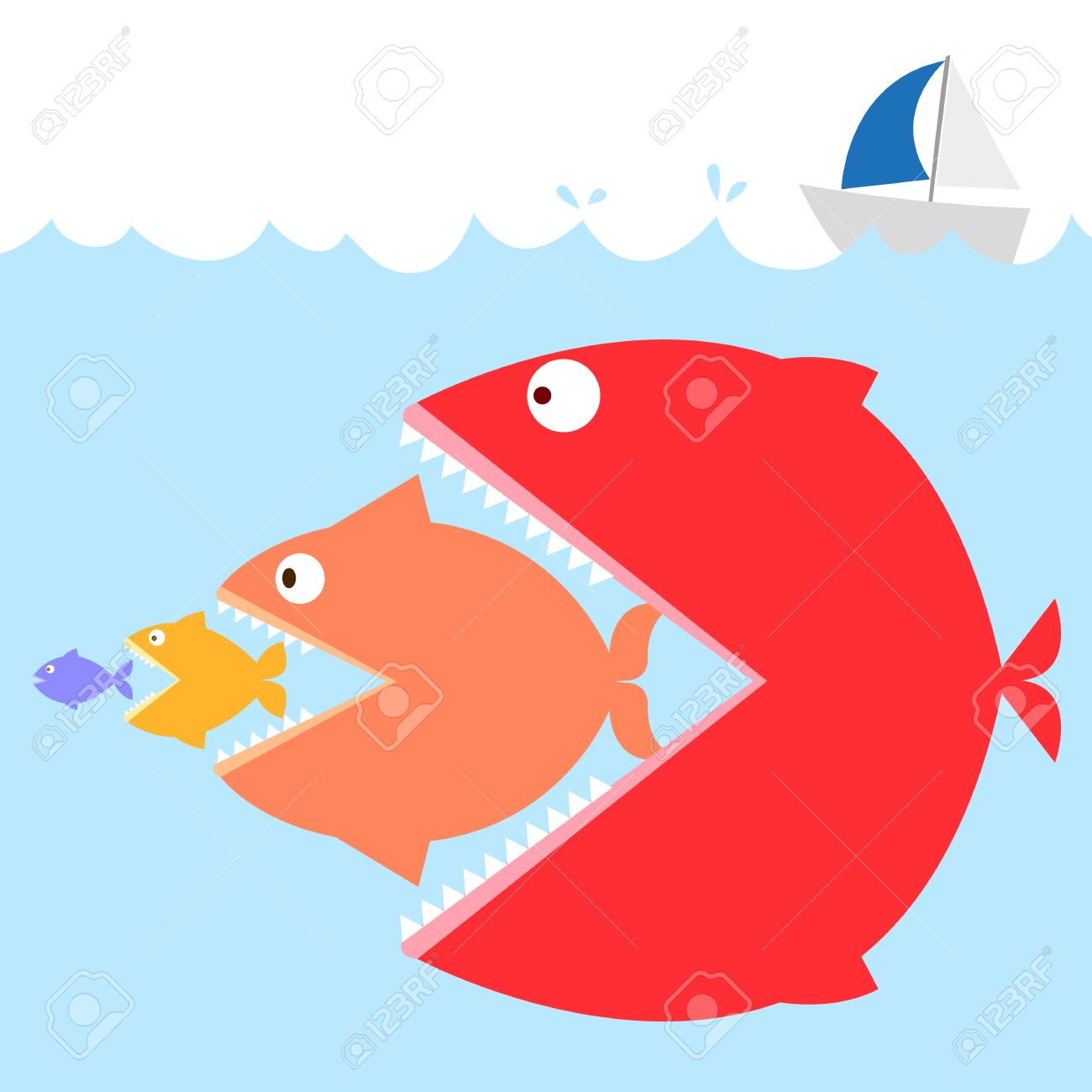 Colorful Of Fishs In The Sea In Meaning : Big Fish Eat Small ...