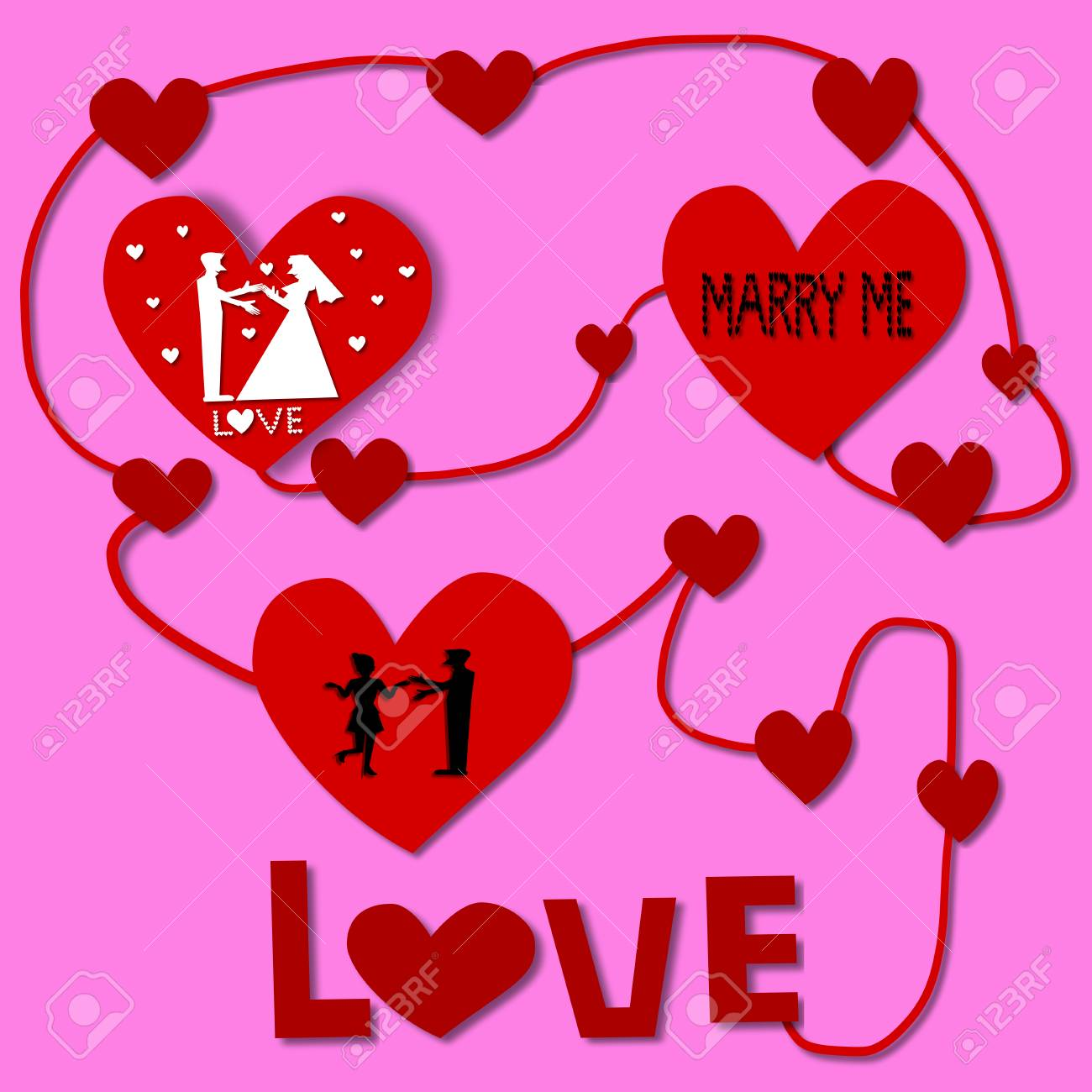 Love Cycle Silhouette Couple Love In Red Heart Illustration Stock