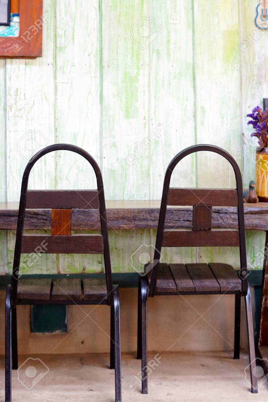 Stock Photo   Two Of Retro Style Chairs That Made By Wood And Metal