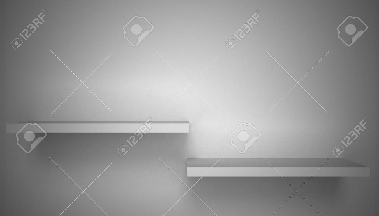 3D empty shelf on wall. Stock Photo - 10442859