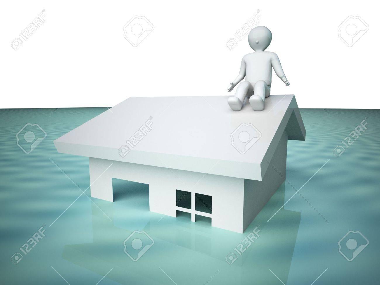 Flooded house. Stock Photo - 10469378