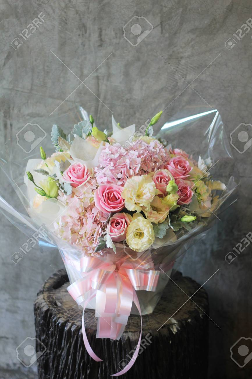 Beautiful Flowers In Basket Stock Photo Picture And Royalty Free
