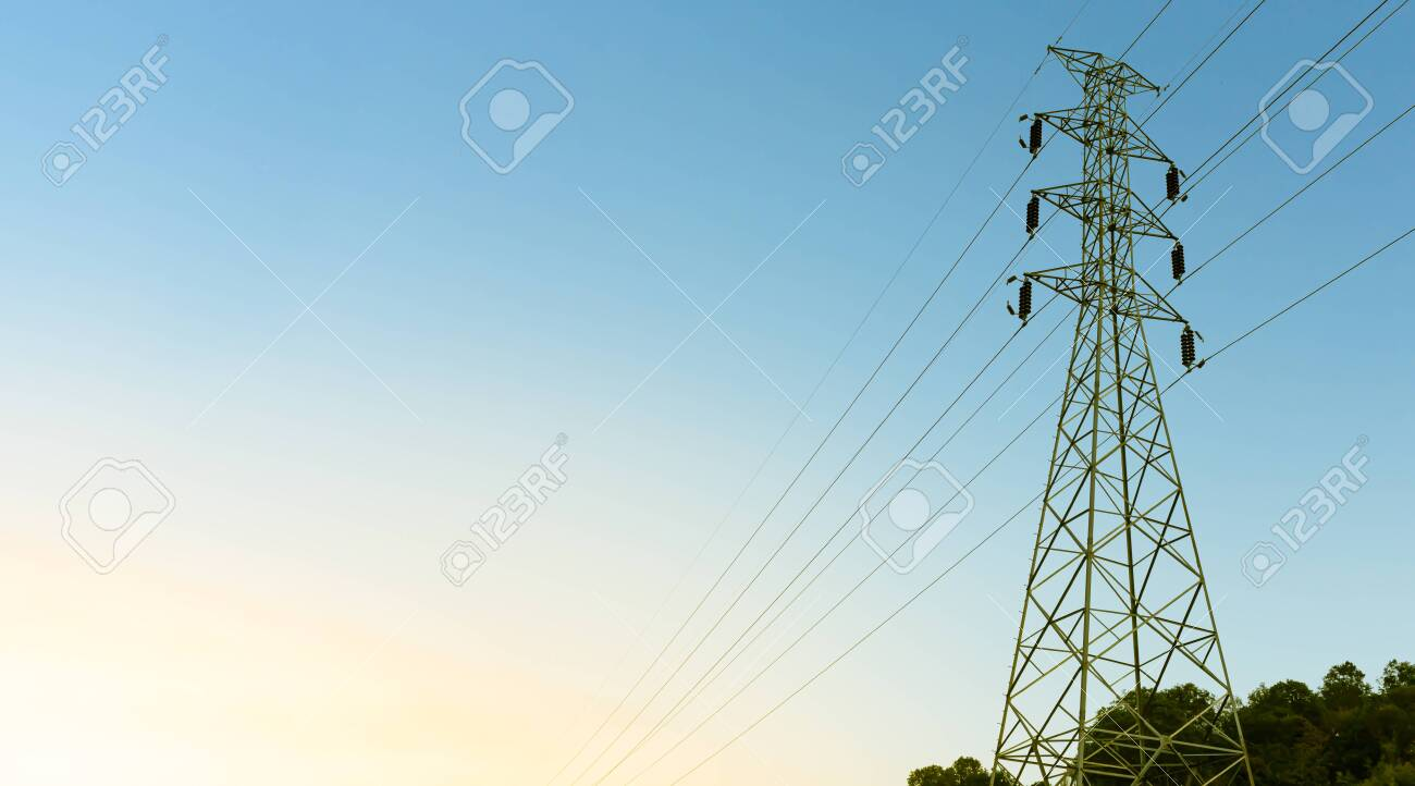High voltage electricity pole detail object - 137473651