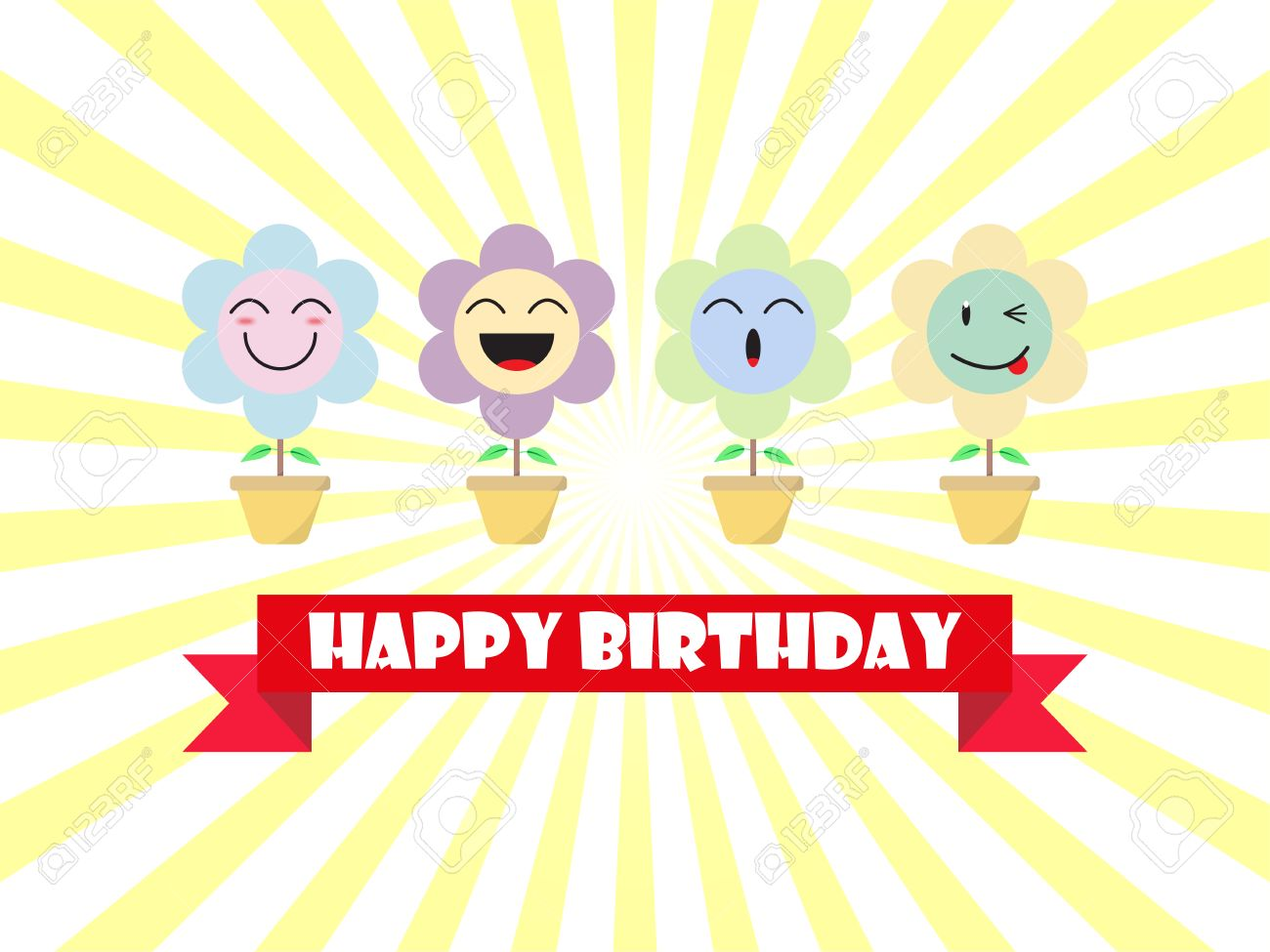 Cute Pastel Flower Emoji Happy Birthday Card Designed As 4 Cartoon Facial Expressions Smile Laugh Ho Wink Useful For Blessing