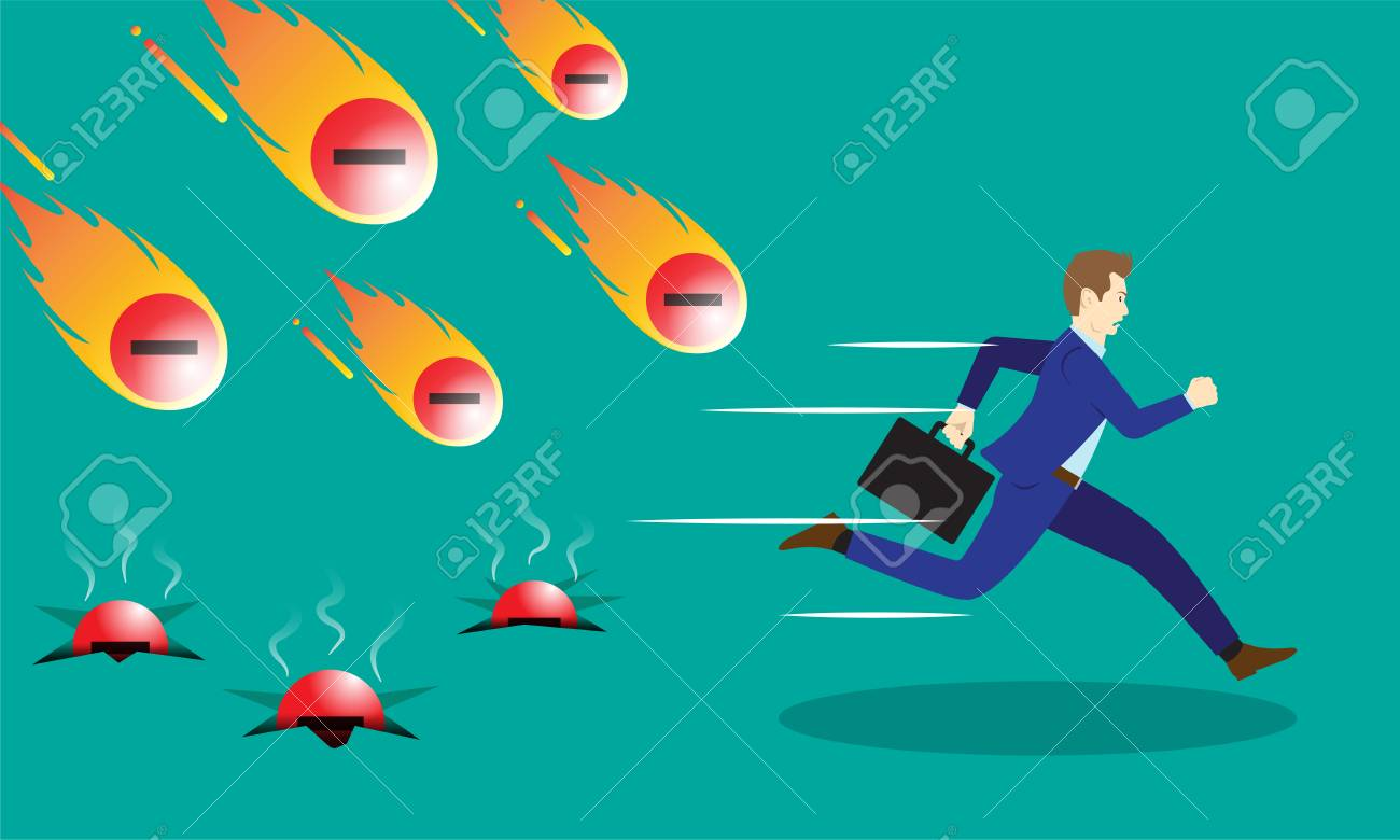A Businessman Is Running Hurriedly From Falling Meteors Comets Of Negativity With Fire. - 84625682