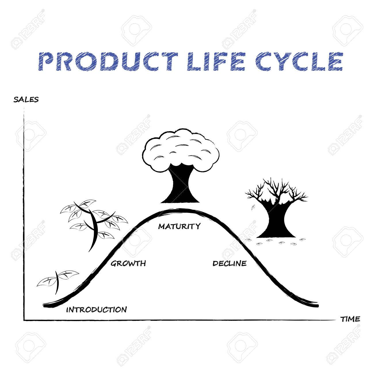 Black white product life cycle diagram is drew by pencil or black white product life cycle diagram is drew by pencil or charcoal on white background ccuart Choice Image