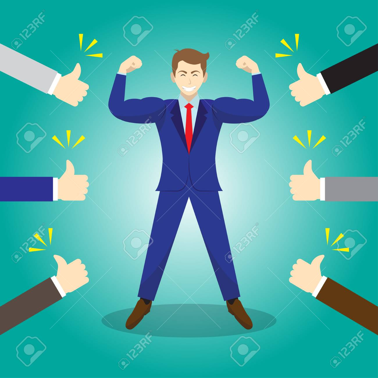 Vector Illustration Business Concept As A Strong Businessman Is Standing And Thumbs Up From Others. He Is Proud Of Himself And He Is Admired, Praised, Respected, Cheered And Full Of Social Esteem. - 91317005