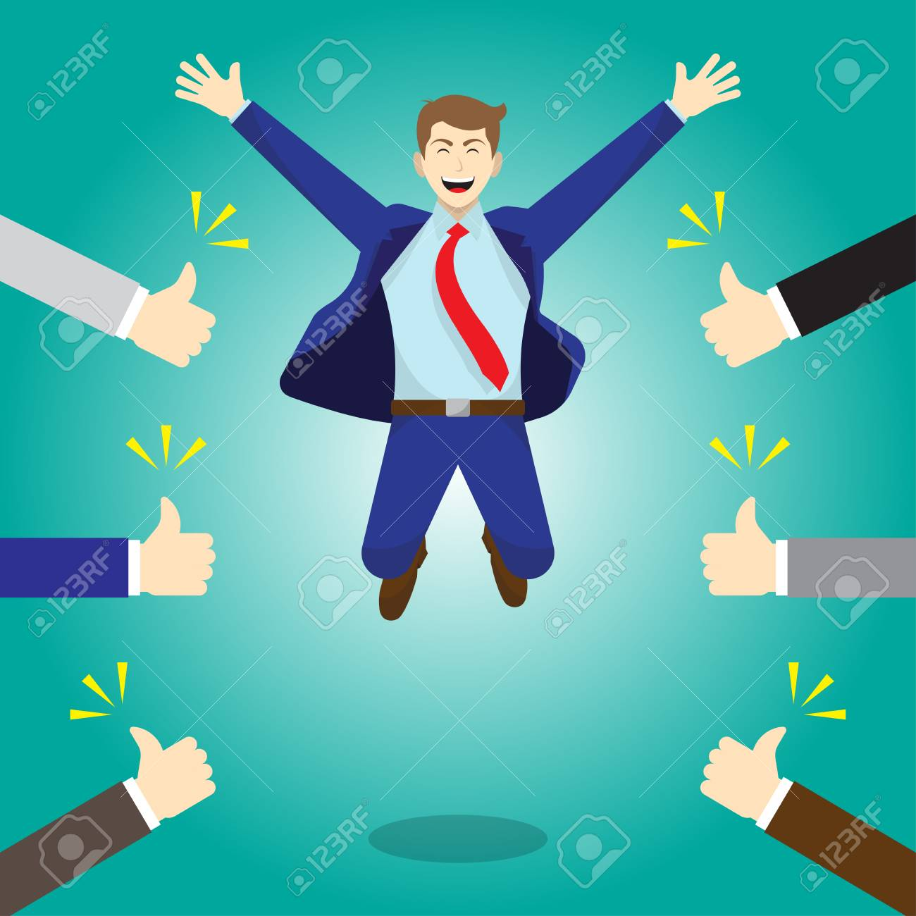 Vector Illustration Business Concept As A Happy Businessman Is Highly Jumping And Thumbs Up From Others. He Is Delightful And He Is Admired, Praised, Respected, Cheered And Full Of Social Esteem. - 91592203