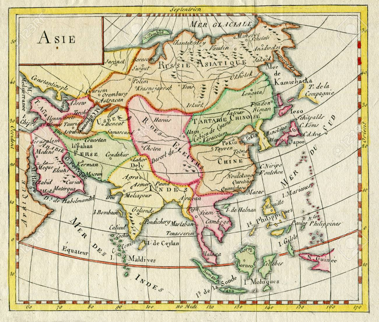 Antique Map Of Asia Shows India Russia Japan 1750 Stock Photo ...