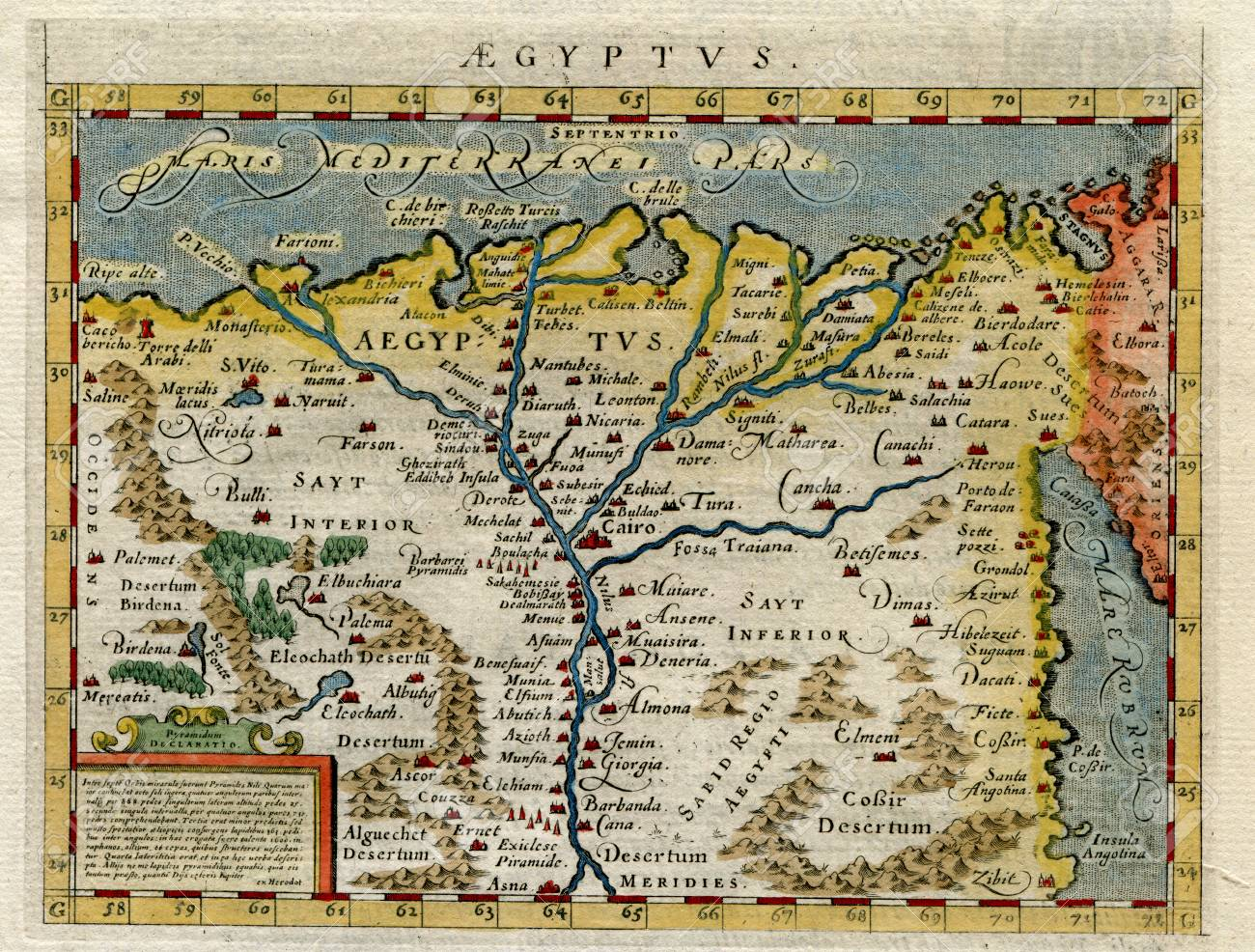 Stock Photo - Very Rare Ptolemy Map of Egypt in 1598