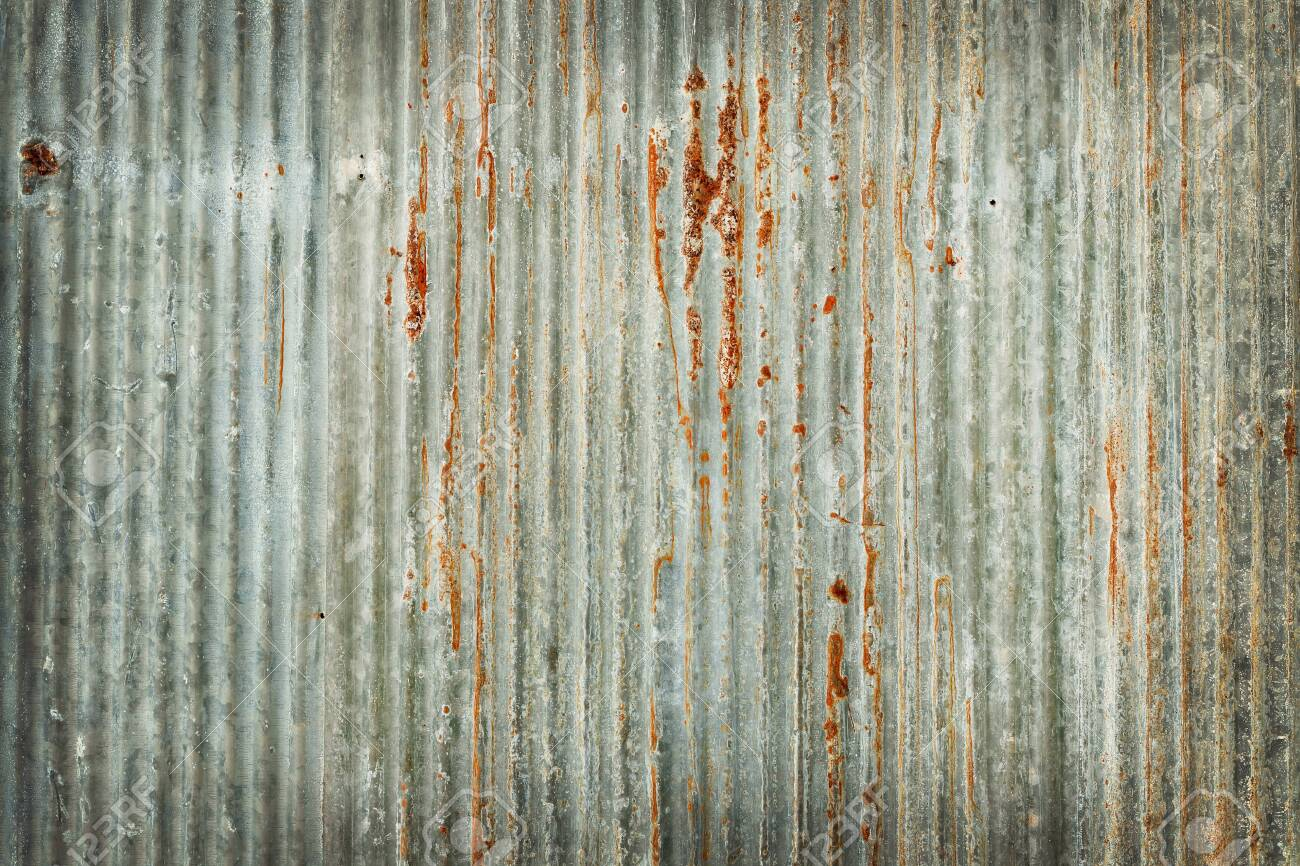 Old zinc wall texture background, rusty on galvanized metal panel sheeting. - 133978246