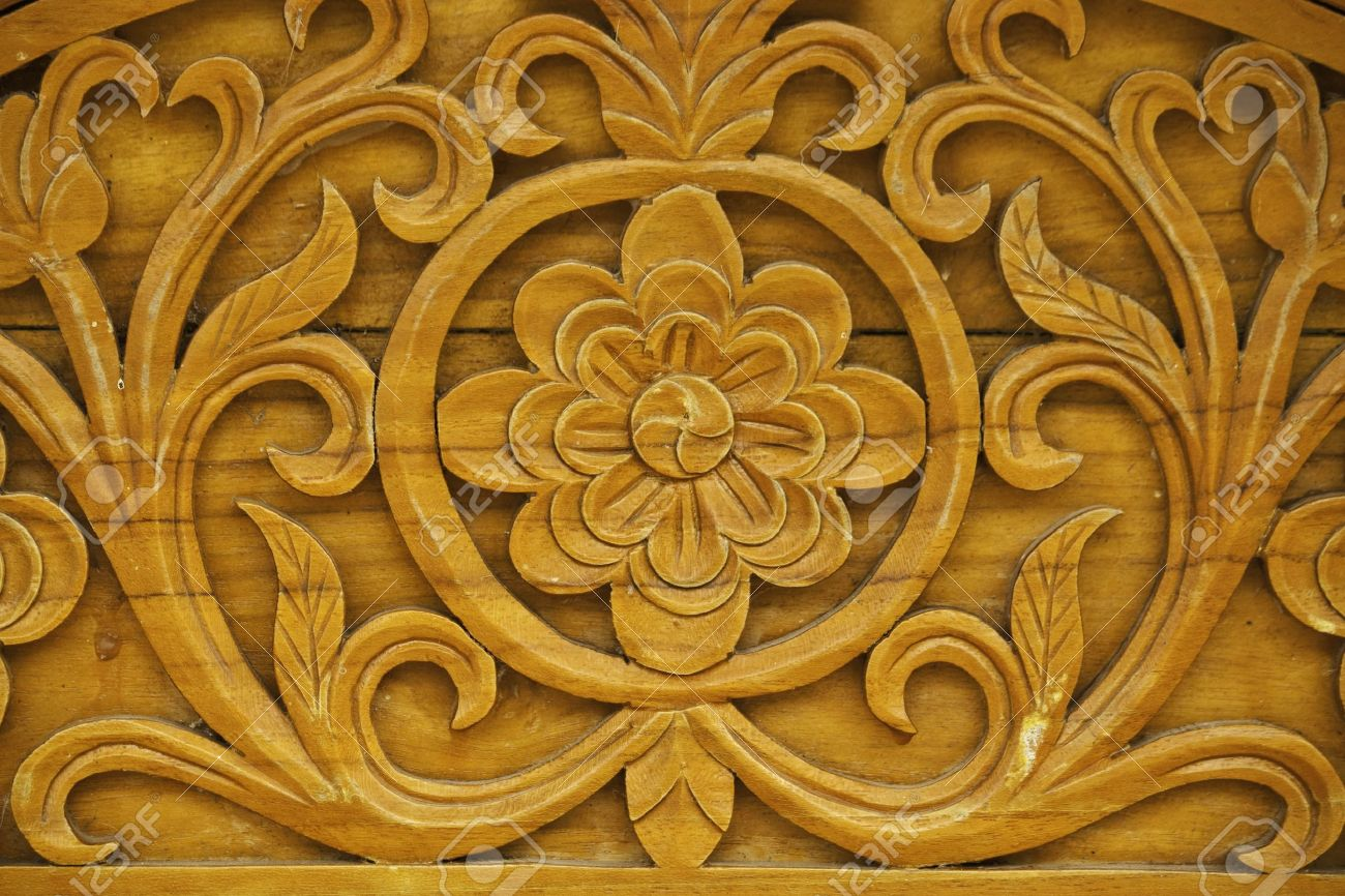 Detail Of Carved Wood Decorative Stock Photo