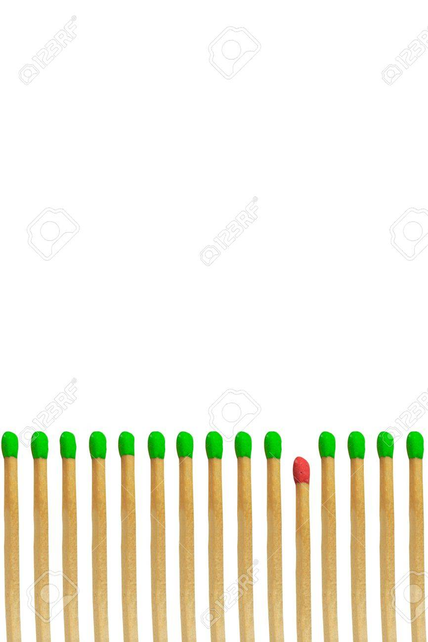 Red matchstick loser concept isolated on white background Stock Photo - 15954232