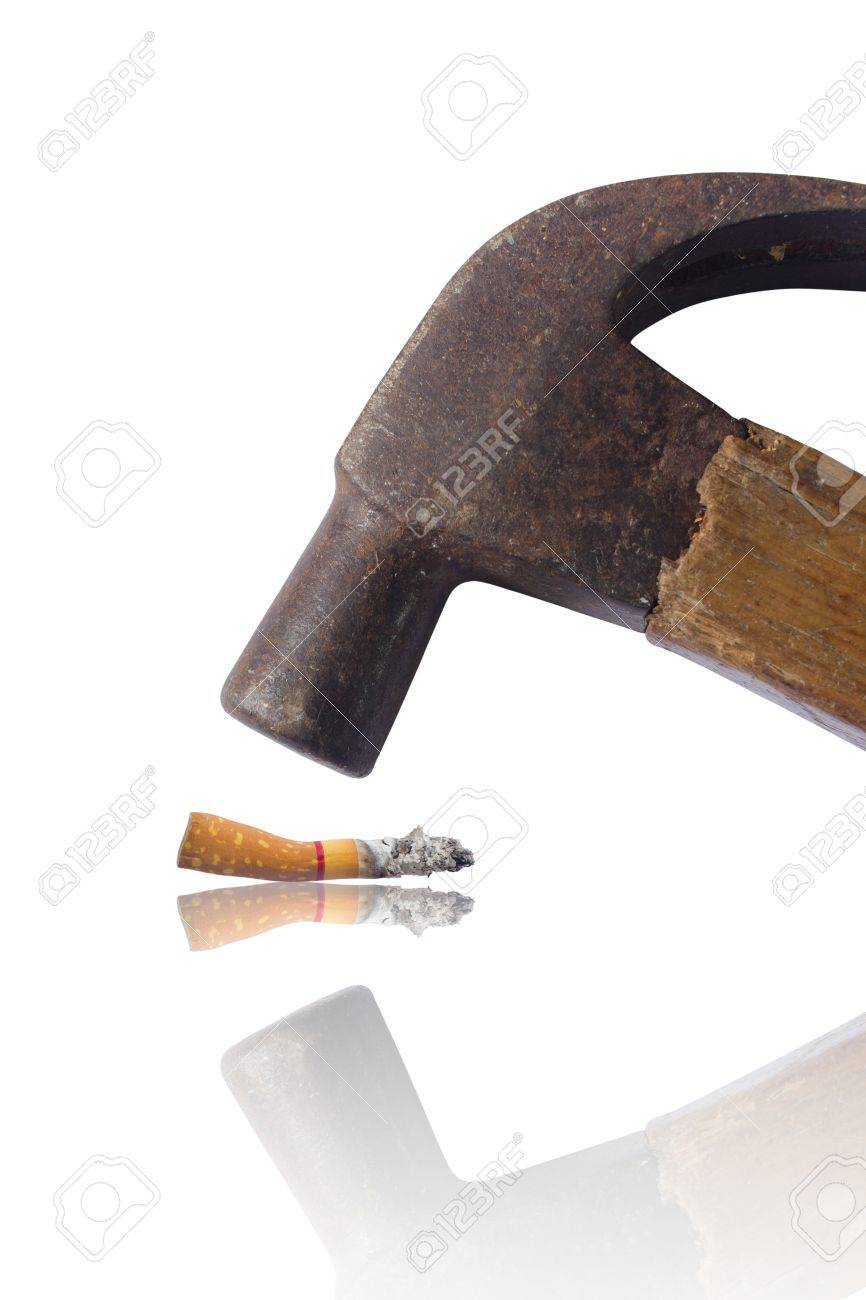 Hammered cigarette isolated on white, hate and anti concept. Stock Photo - 16969266