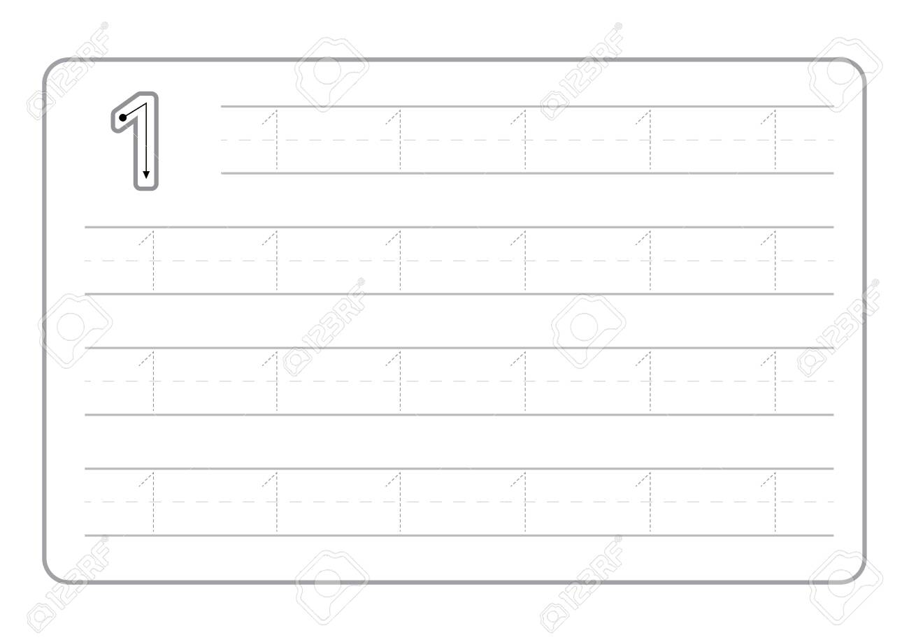 Free handwriting pages for writing numbers Learning numbers, Numbers tracing worksheet for kindergarten vector - 120404754