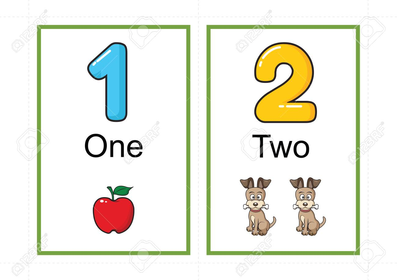 Printable Number Flashcards For Teaching Number Flashcards Number A4 With Dotted Line Cut Royalty Free Cliparts Vectors And Stock Illustration Image 127189859