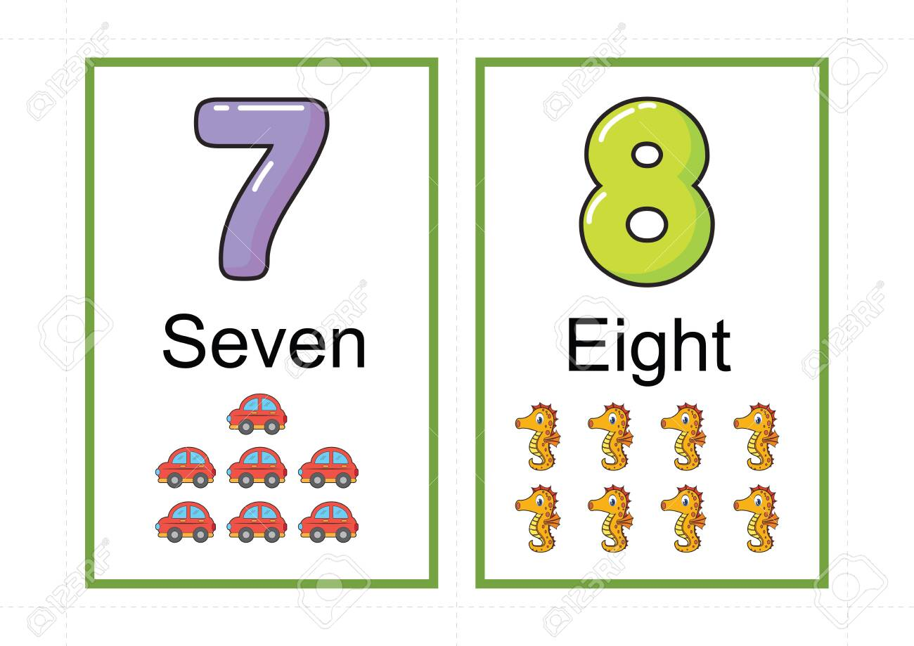 printable number flashcards for teaching number, flashcards number, a4 with dotted line cut - 127189878
