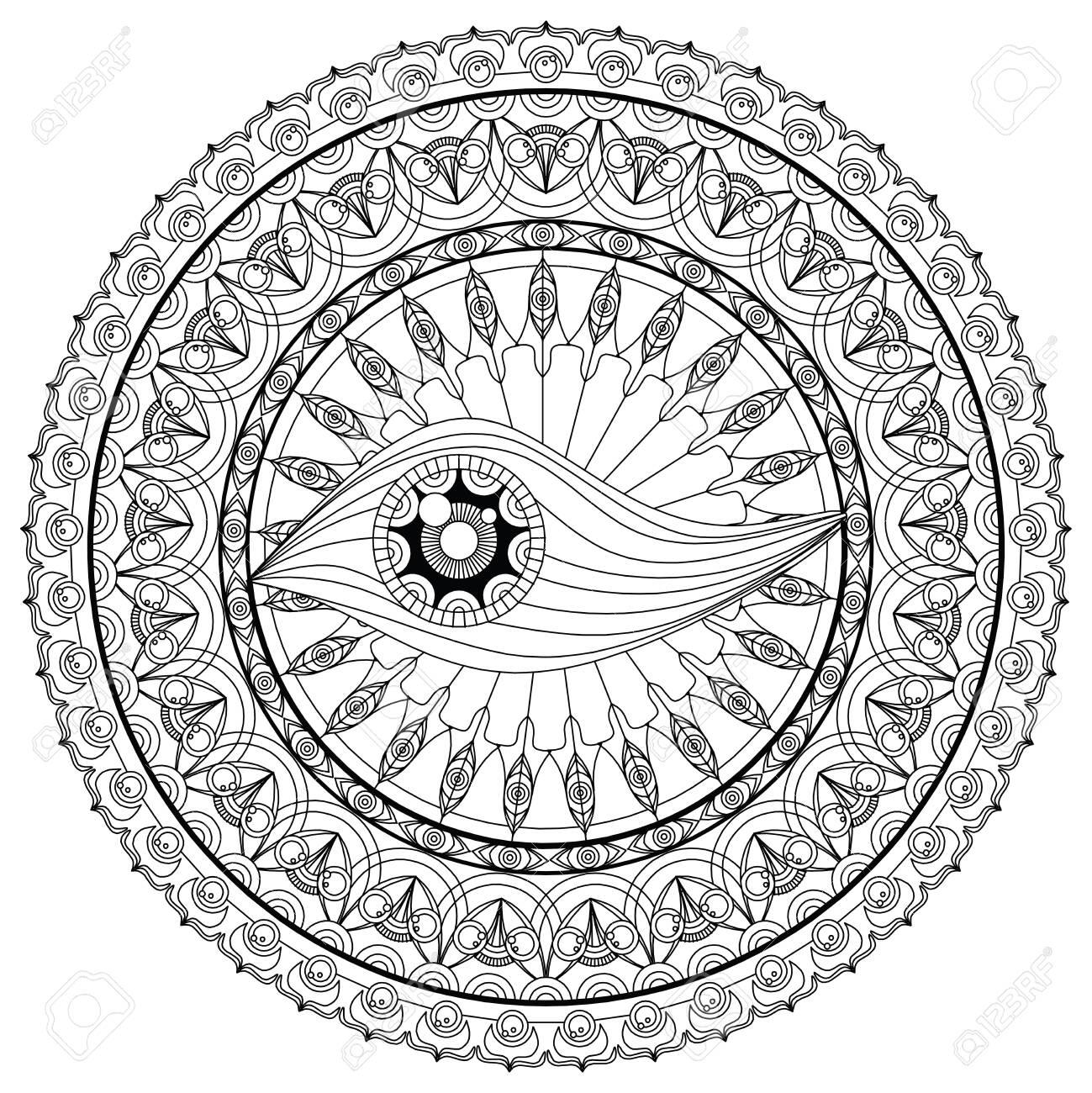 Mandala Coloring page For Adult Relaxation Mandala design eye..