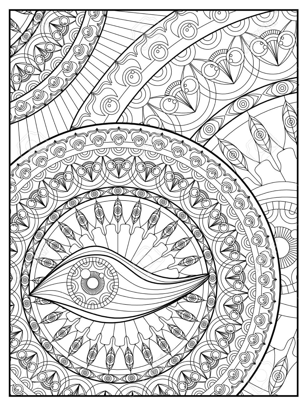 - Mandala Coloring Page For Adult Relaxation Mandala Design Eye