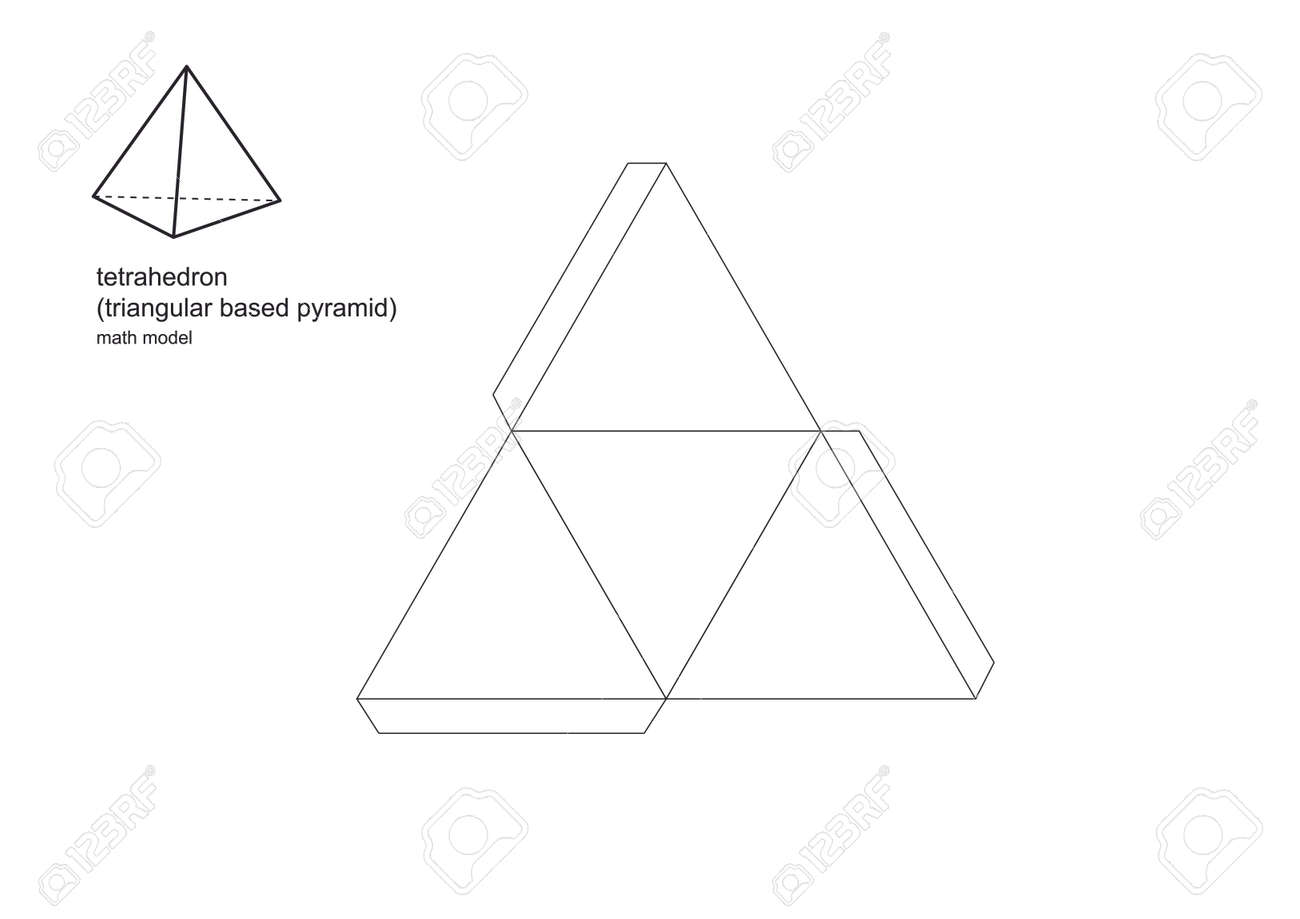 3d model maths shapes Patterns print perfectly on A4 and standard letter size paper. To enlarge or minimise use a photocopier. Print, cut, fold and glue the tabs to make perfect three dimensional. - 165118241