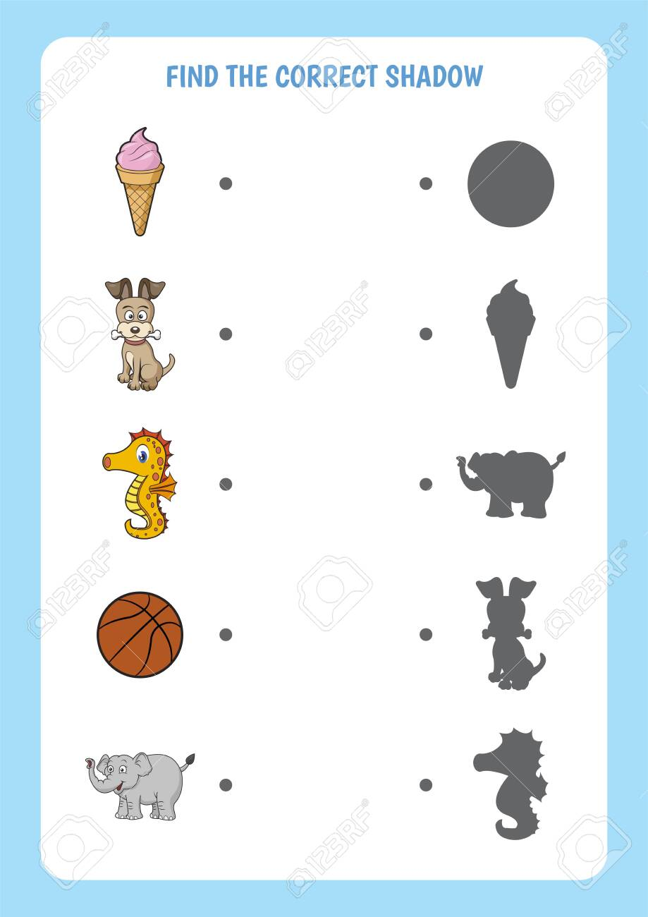 Funny cartoon worksheet. Find the correct shadow. Educational matching game for children. - 154157616