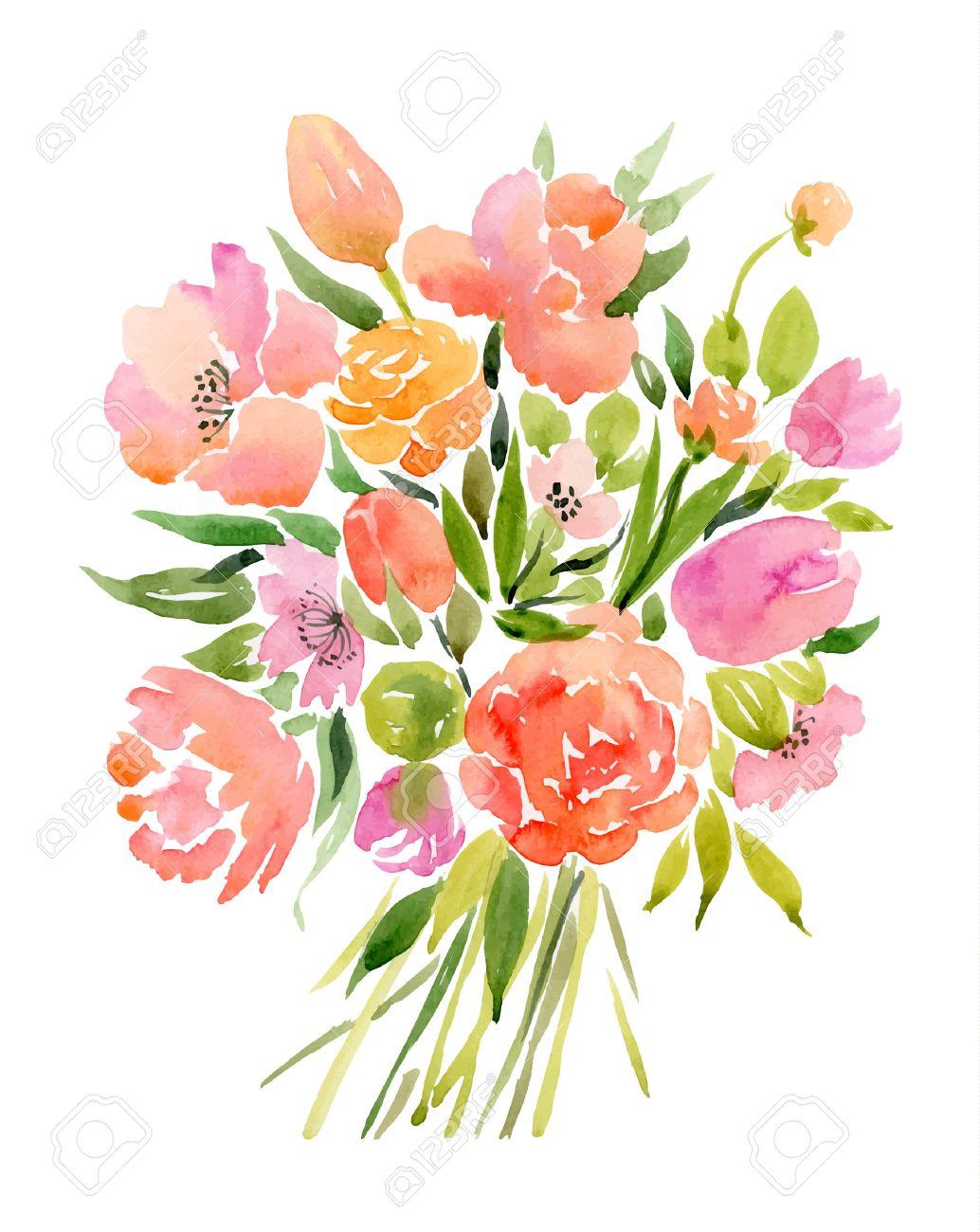 Watercolor bouquet of flowers vector illustration royalty free vector watercolor bouquet of flowers vector illustration izmirmasajfo Gallery