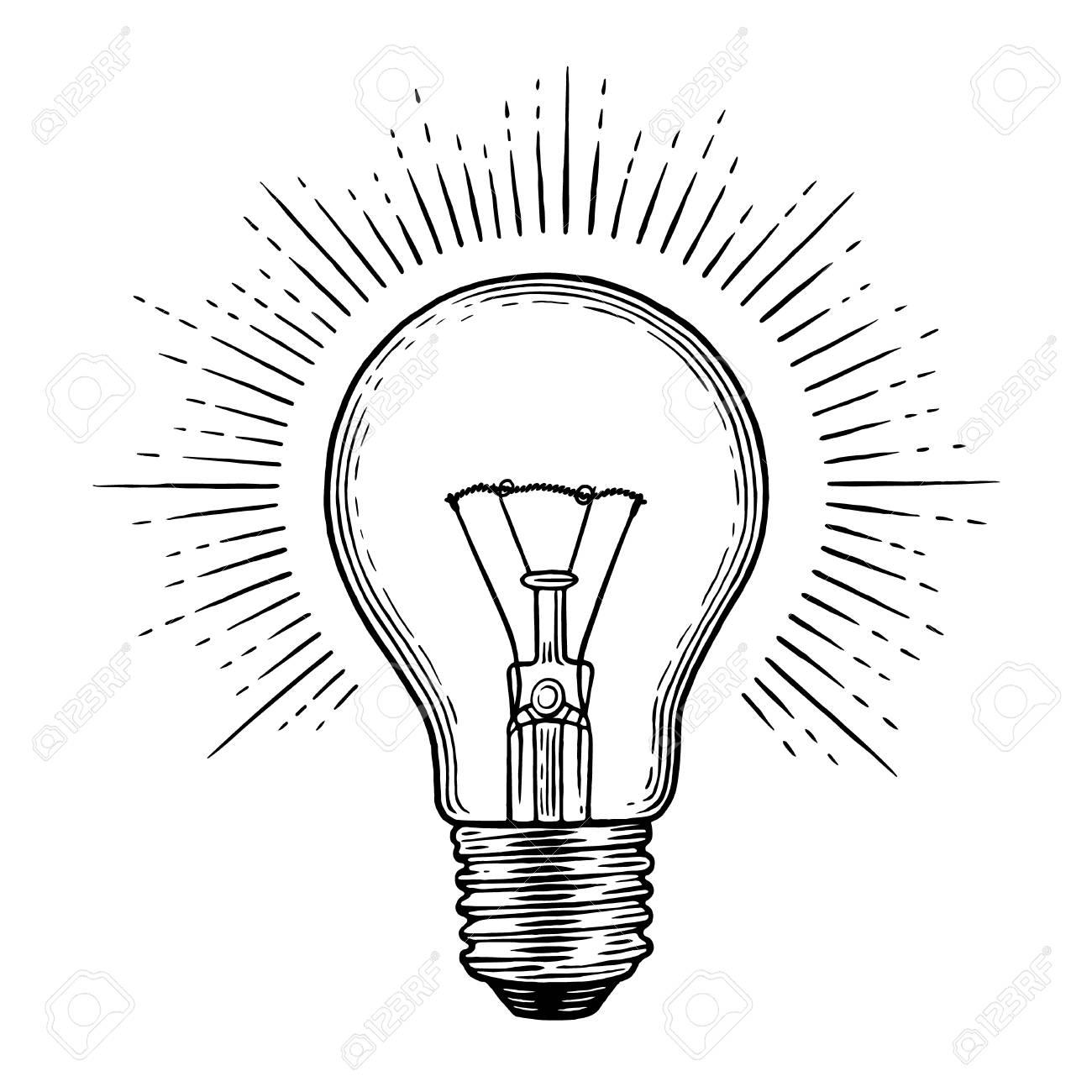 Light bulb engraving illustration. - 92472328