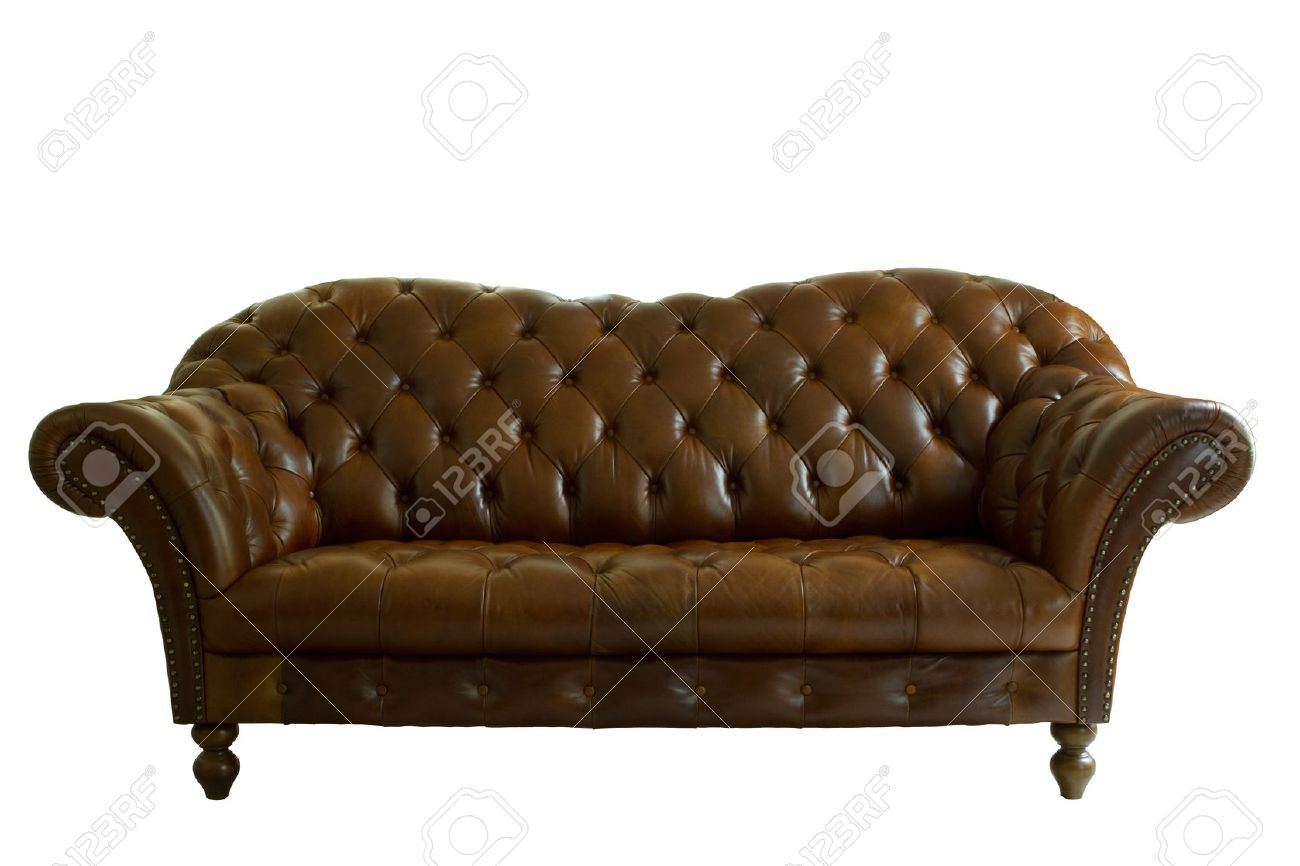 Genuine Leather Sofa Classical Style On White Background, Isolated Stock  Photo   9957957