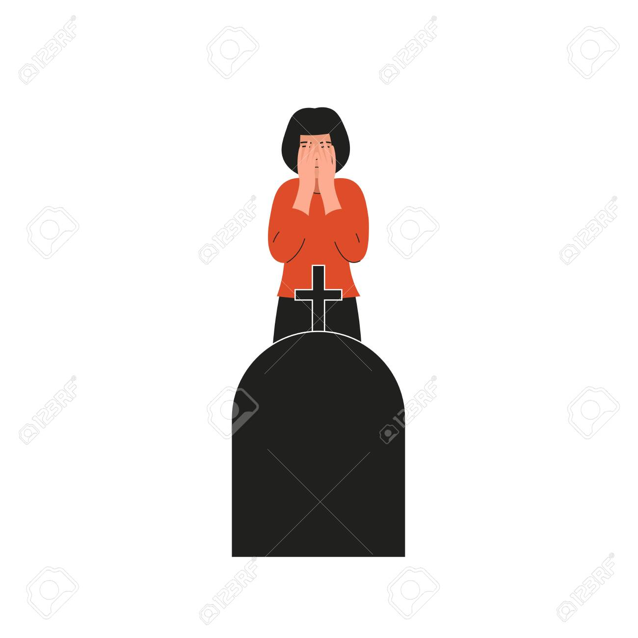 Woman crying over the grave. Girl covers her face and cries. Sad female character, bad emotions, solitude. Flat vector cartoon illustration design. - 136957776