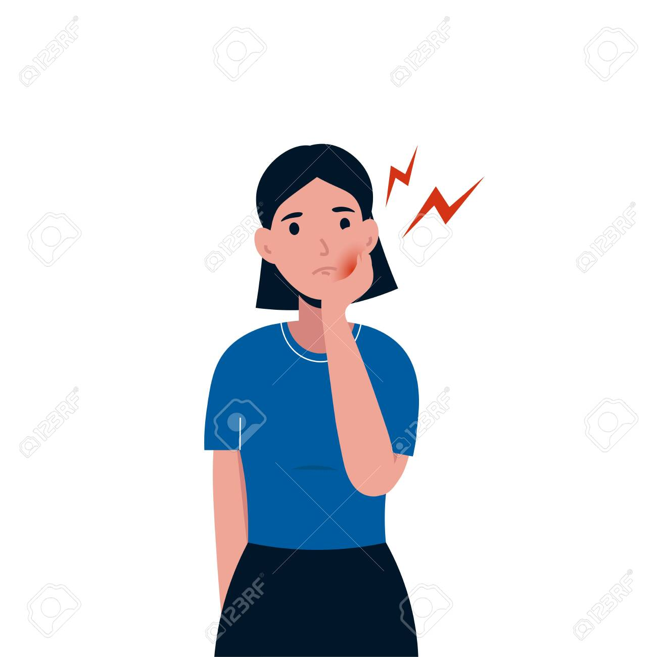 Sad woman patient suffering from toothache. Female having a strong toothache. Severe pain in the teeth. Flat vector character illustration isolated white background. - 136850253