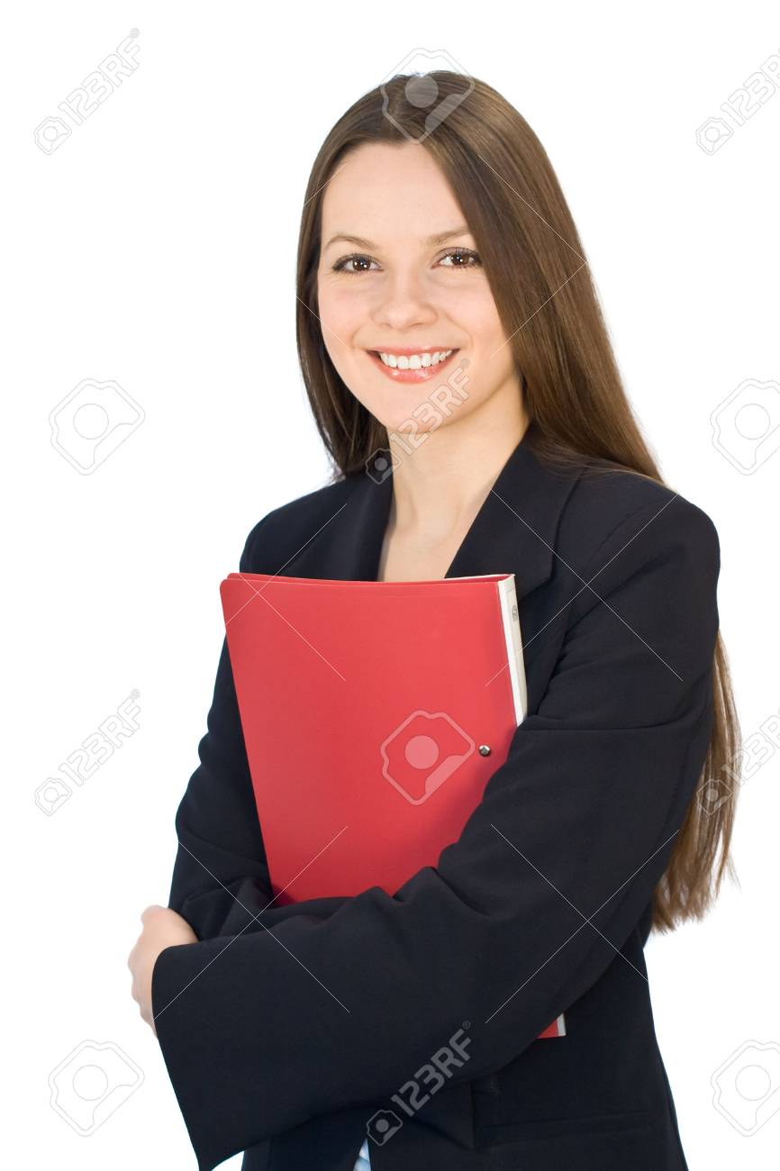 Young smiling woman in a business suit with a folder in hands. Isolated on white background Stock Photo - 2471542