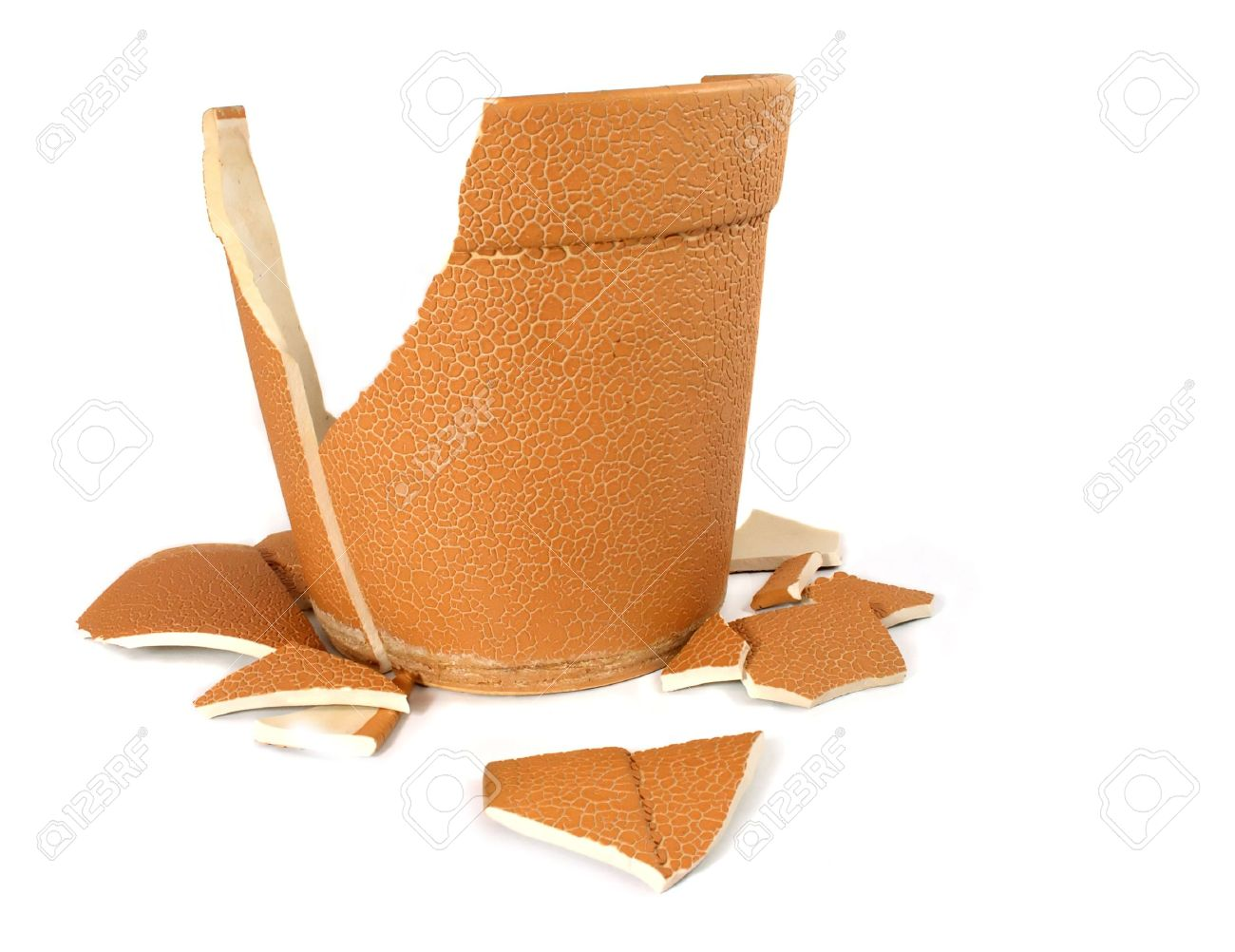 Broken Flower Pot The Broken Flowerpot On White Background Stock Photo Picture And