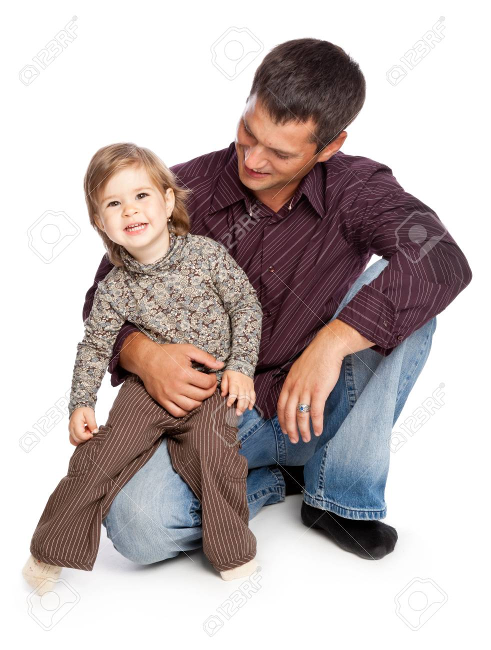 Father and  daughter. Isolated on whita background Stock Photo - 5069855