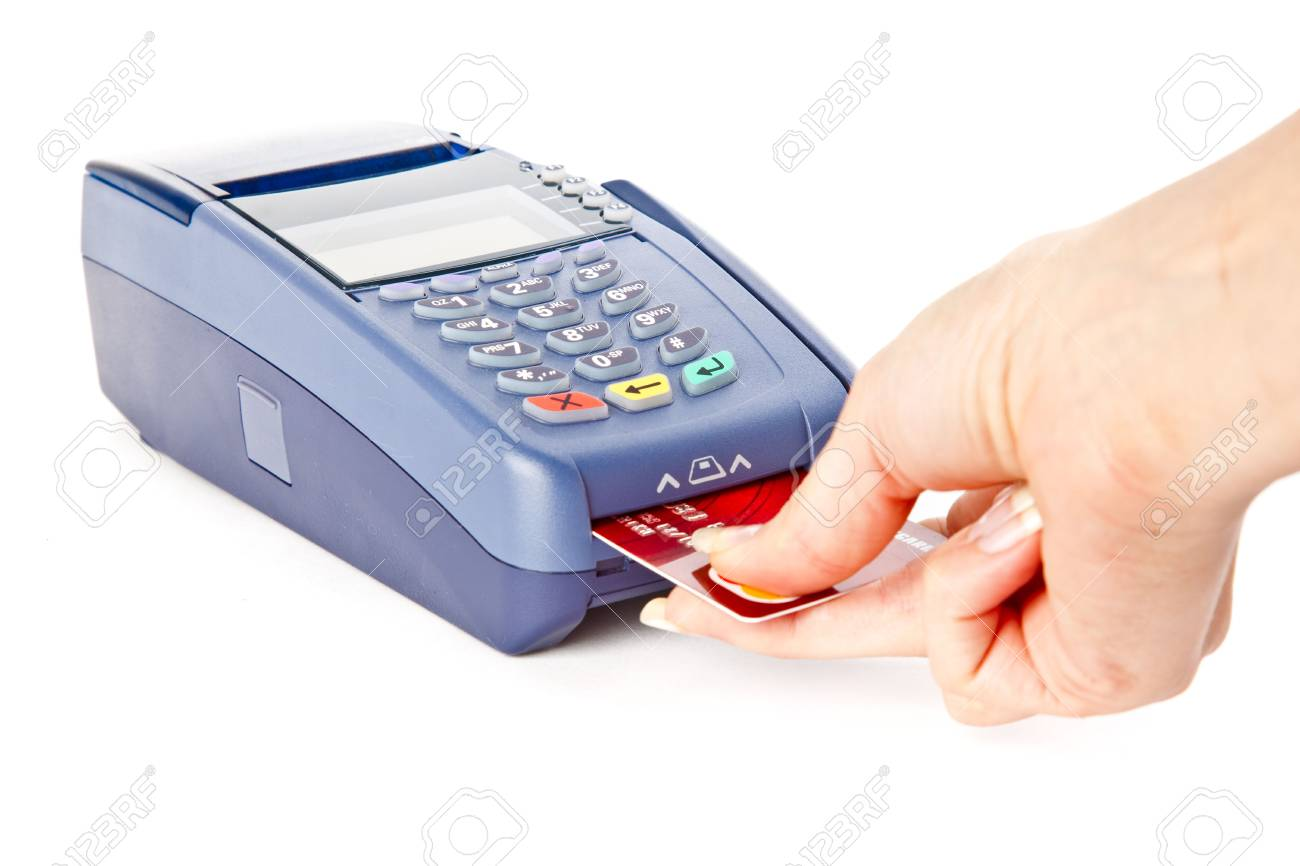 Paying with credit card. Isolated on white background Stock Photo - 5625050