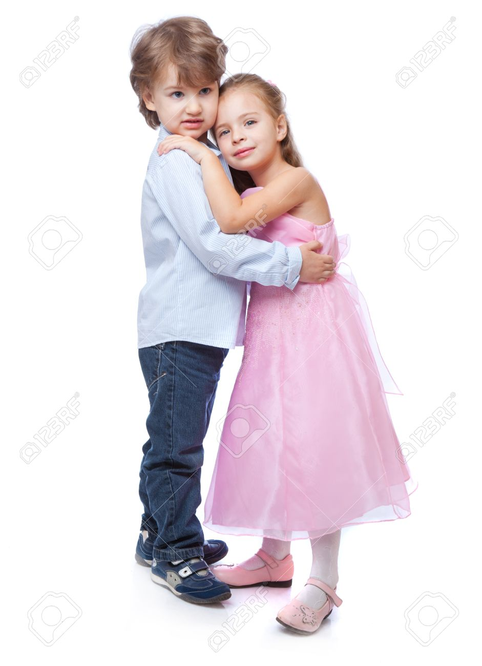 Little Boy And Girl In Love Isolated On White Background Stock