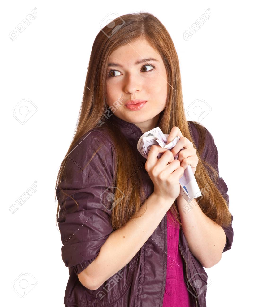Girl with money in hands. Isolated on white background Stock Photo - 8381424