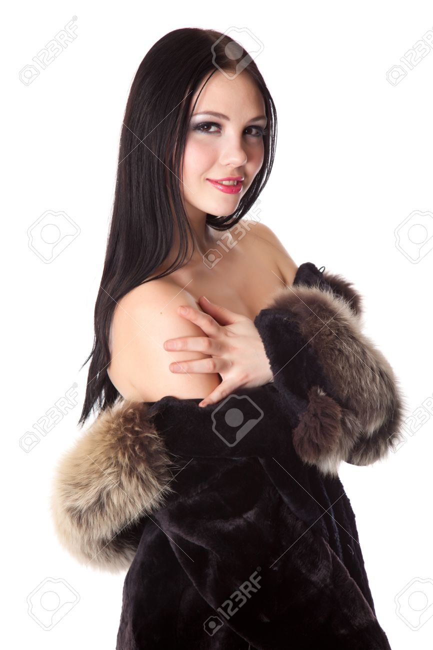 Naked in fur coat