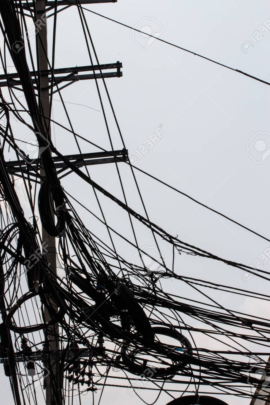 Messy Electrical Cables And Wires On Electric Pole In The City Stock Photo Picture And Royalty Free Image Image 133090603