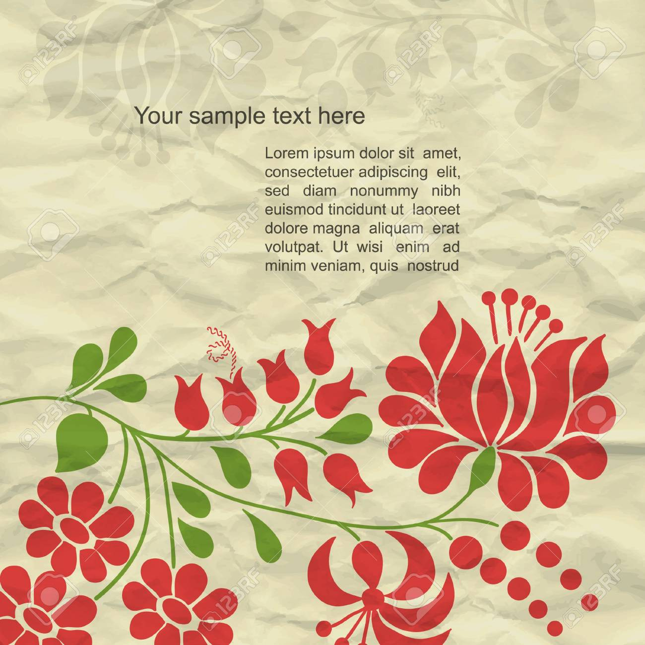 Colorful modern vector background with grunge paper and spring flower Stock Vector - 13345374