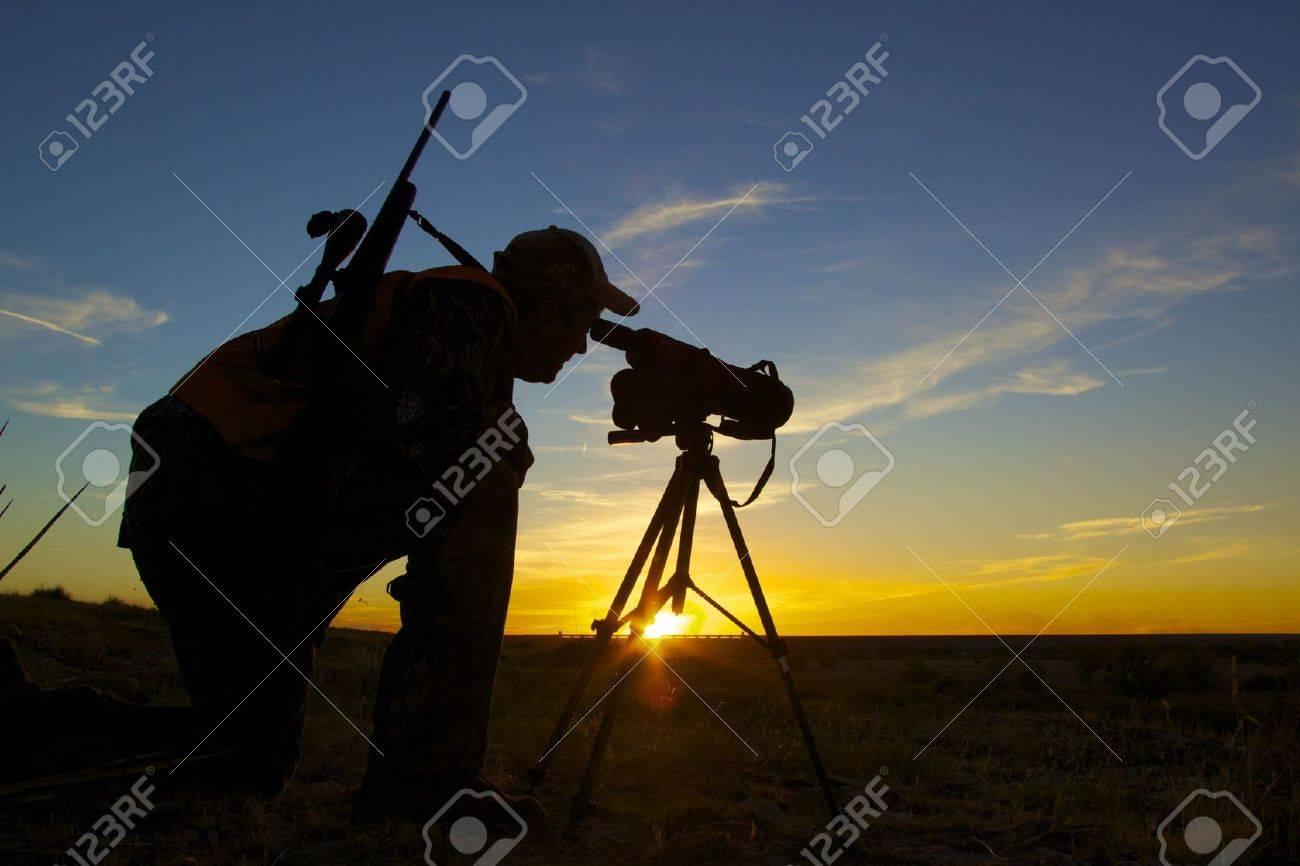 Rifle Hunter in Sunset - 8342804
