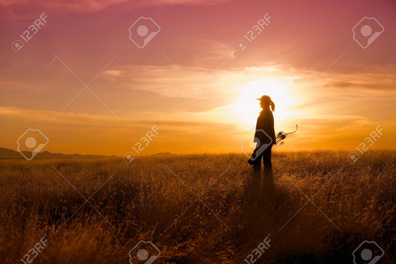 Bowhunter in Sunset - 22929183