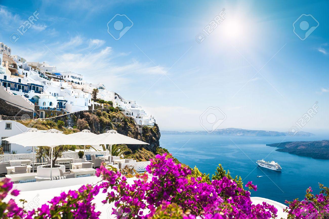 White architecture on Santorini island, Greece. Beautiful landscape with sea view - 45368432