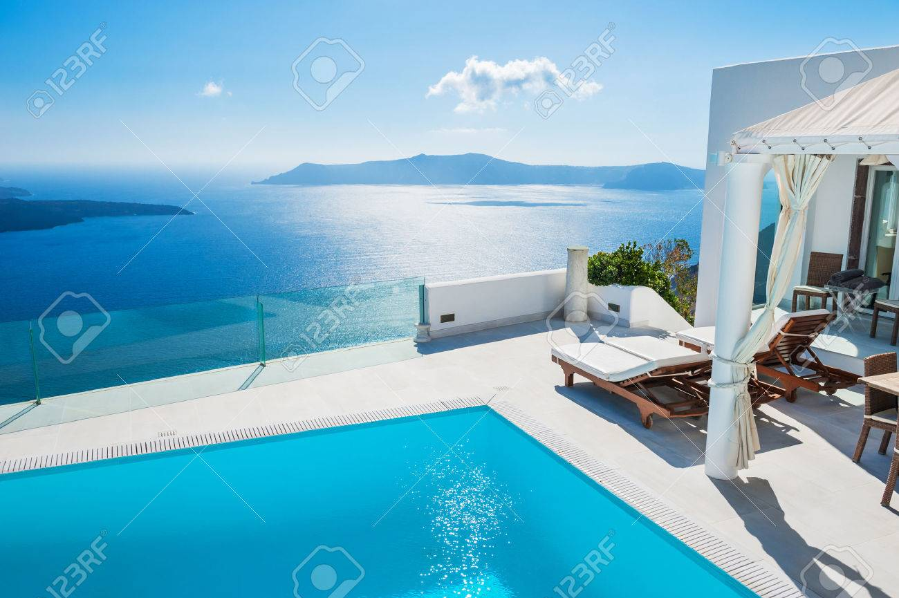 Top White Architecture On Santorini Island, Greece. Swimming Pool  YC15